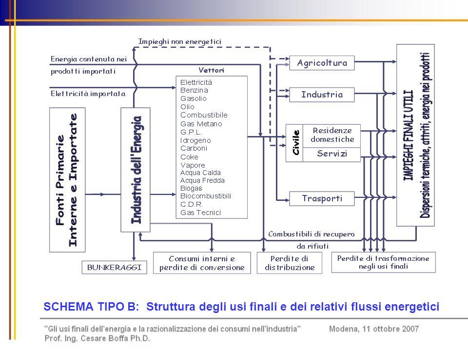 SCHEMA TIPO B: Struttura degli usi finali e dei relativi flussi energetici