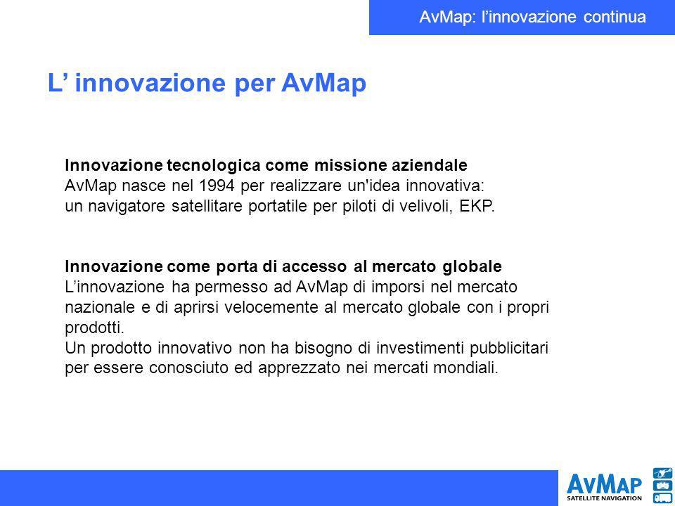 AvMap: linnovazione continua Innovazione tecnologica come missione aziendale AvMap nasce nel 1994 per realizzare un idea innovativa: un navigatore satellitare portatile per piloti di velivoli, EKP.