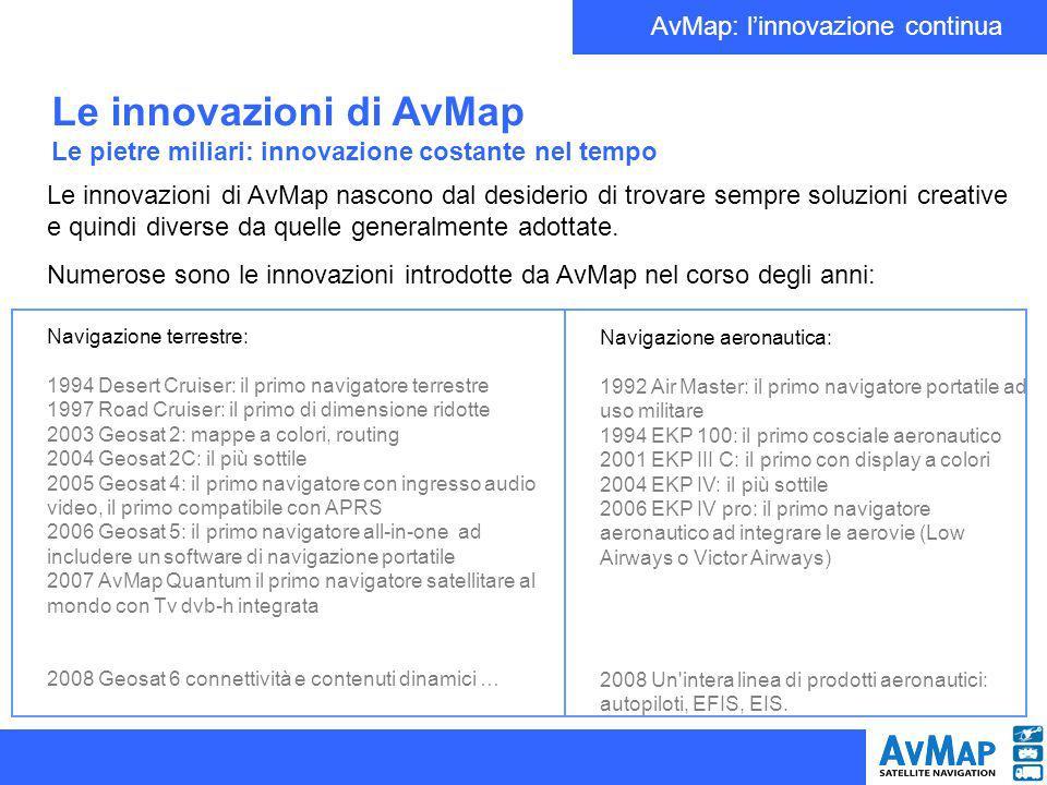AvMap: linnovazione continua Le innovazioni di AvMap Navigazione Aeronautica La prima innovazione: Nel 1994 AvMap Lancia EKP (Electronic Knee Pad), un cosciale Aeronautico portatile con schermo a 7 sul quale i piloti possono consultare le mappe aeronautiche.