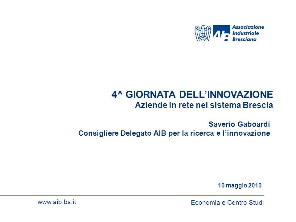 1 www.aib.bs.itEconomia e Centro Studi 1 4^ GIORNATA DELLINNOVAZIONE Aziende in rete nel sistema Brescia Economia e Centro Studi www.aib.bs.it 10 magg