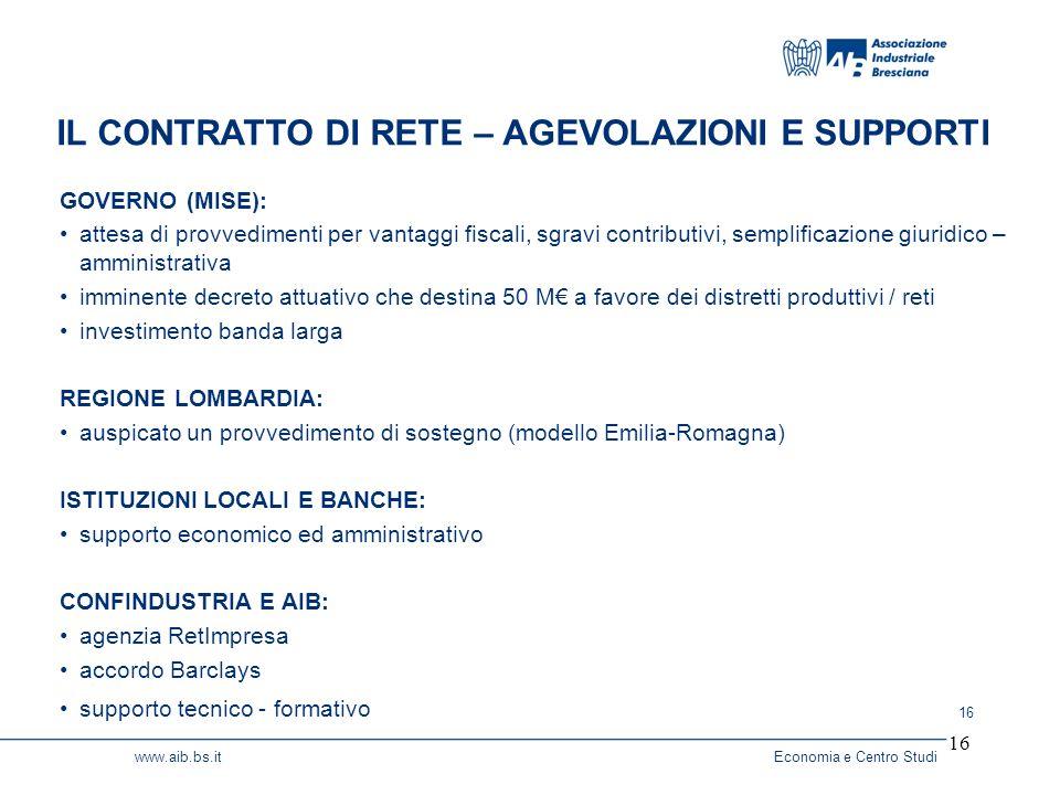 16 www.aib.bs.itEconomia e Centro Studi 16 GOVERNO (MISE): attesa di provvedimenti per vantaggi fiscali, sgravi contributivi, semplificazione giuridico – amministrativa imminente decreto attuativo che destina 50 M a favore dei distretti produttivi / reti investimento banda larga REGIONE LOMBARDIA: auspicato un provvedimento di sostegno (modello Emilia-Romagna) ISTITUZIONI LOCALI E BANCHE: supporto economico ed amministrativo CONFINDUSTRIA E AIB: agenzia RetImpresa accordo Barclays supporto tecnico - formativo IL CONTRATTO DI RETE – AGEVOLAZIONI E SUPPORTI