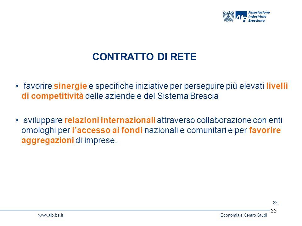 22 www.aib.bs.itEconomia e Centro Studi 22 favorire sinergie e specifiche iniziative per perseguire più elevati livelli di competitività delle aziende