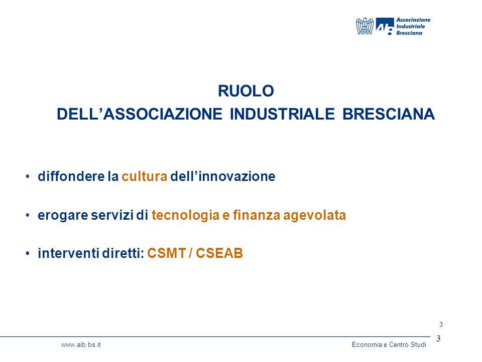 3 www.aib.bs.itEconomia e Centro Studi 3 diffondere la cultura dellinnovazione erogare servizi di tecnologia e finanza agevolata interventi diretti: CSMT / CSEAB RUOLO DELLASSOCIAZIONE INDUSTRIALE BRESCIANA