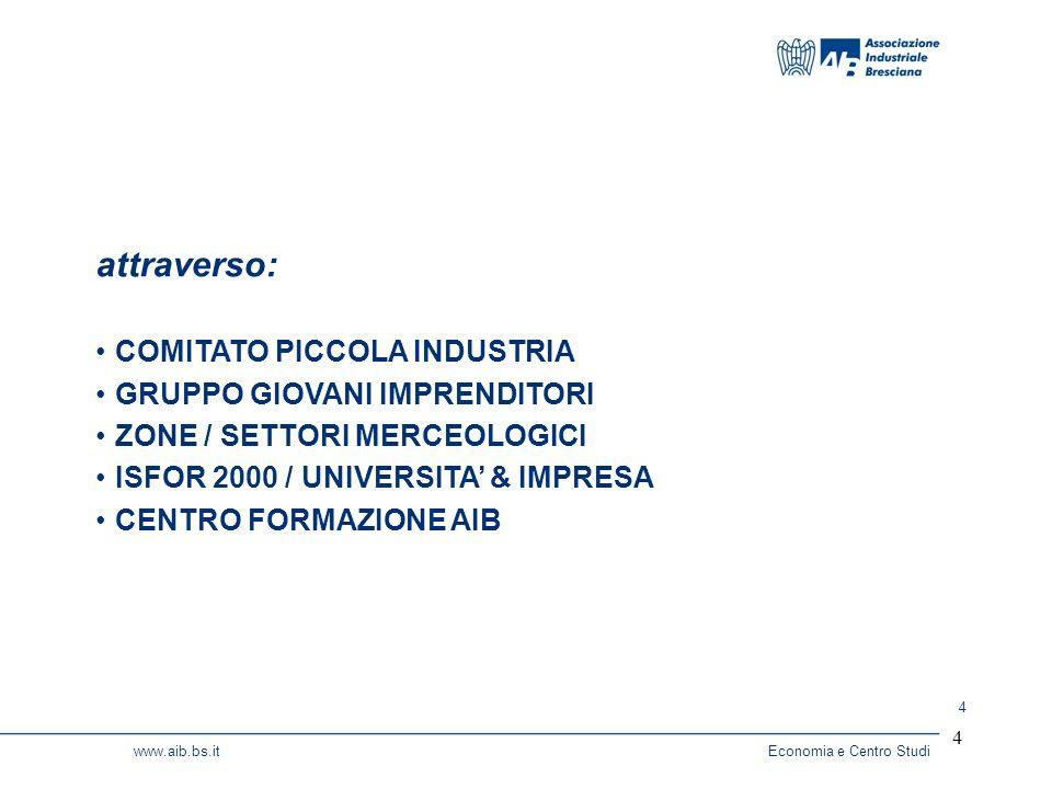 4 www.aib.bs.itEconomia e Centro Studi 4 attraverso: COMITATO PICCOLA INDUSTRIA GRUPPO GIOVANI IMPRENDITORI ZONE / SETTORI MERCEOLOGICI ISFOR 2000 / UNIVERSITA & IMPRESA CENTRO FORMAZIONE AIB