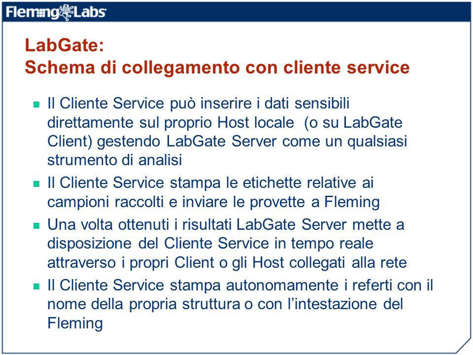 Il Cliente Service può inserire i dati sensibili direttamente sul proprio Host locale (o su LabGate Client) gestendo LabGate Server come un qualsiasi