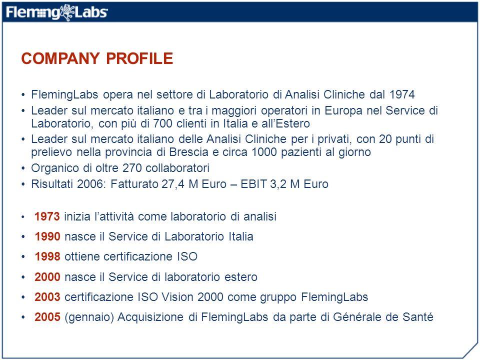 COMPANY PROFILE FlemingLabs opera nel settore di Laboratorio di Analisi Cliniche dal 1974 Leader sul mercato italiano e tra i maggiori operatori in Eu