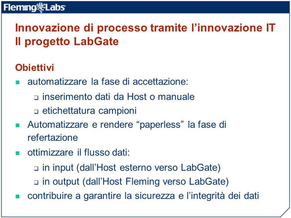 Innovazione di processo tramite linnovazione IT Il progetto LabGate Obiettivi automatizzare la fase di accettazione: inserimento dati da Host o manual
