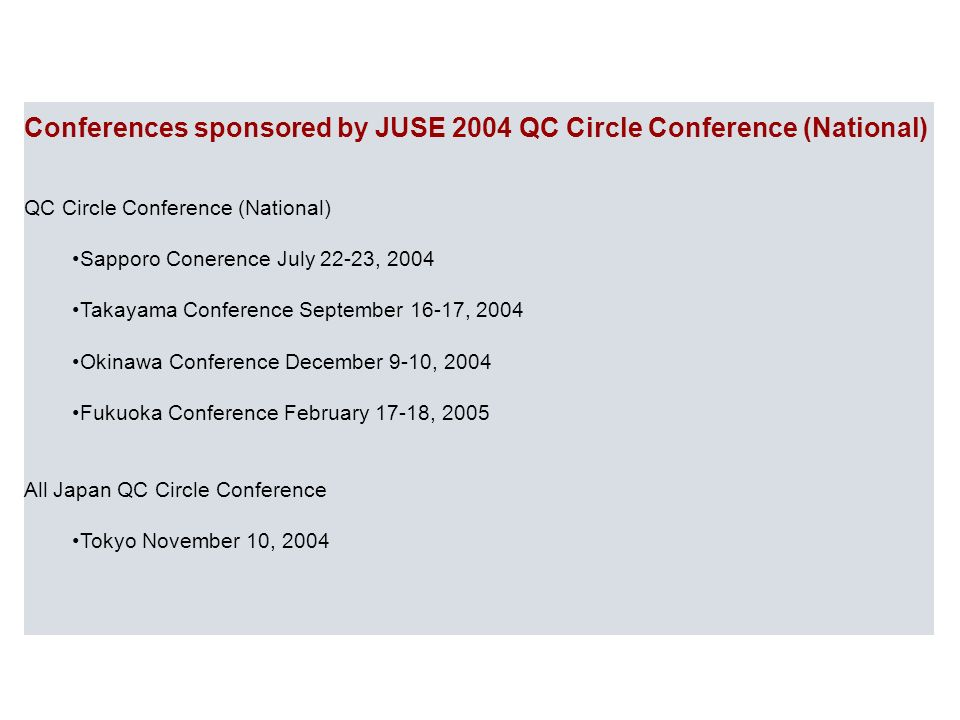 Sistema Gestione Qualità Conferences sponsored by JUSE 2004 QC Circle Conference (National) QC Circle Conference (National) Sapporo Conerence July 22-23, 2004 Takayama Conference September 16-17, 2004 Okinawa Conference December 9-10, 2004 Fukuoka Conference February 17-18, 2005 All Japan QC Circle Conference Tokyo November 10, 2004