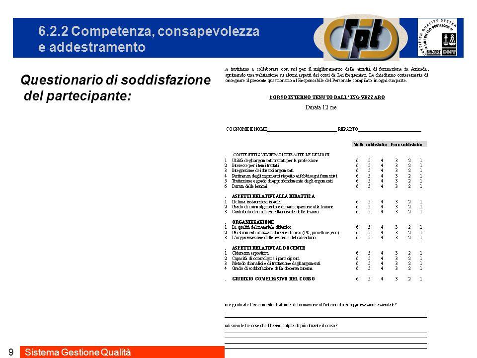 Sistema Gestione Qualità9 6.2.2 Competenza, consapevolezza e addestramento Questionario di soddisfazione del partecipante: