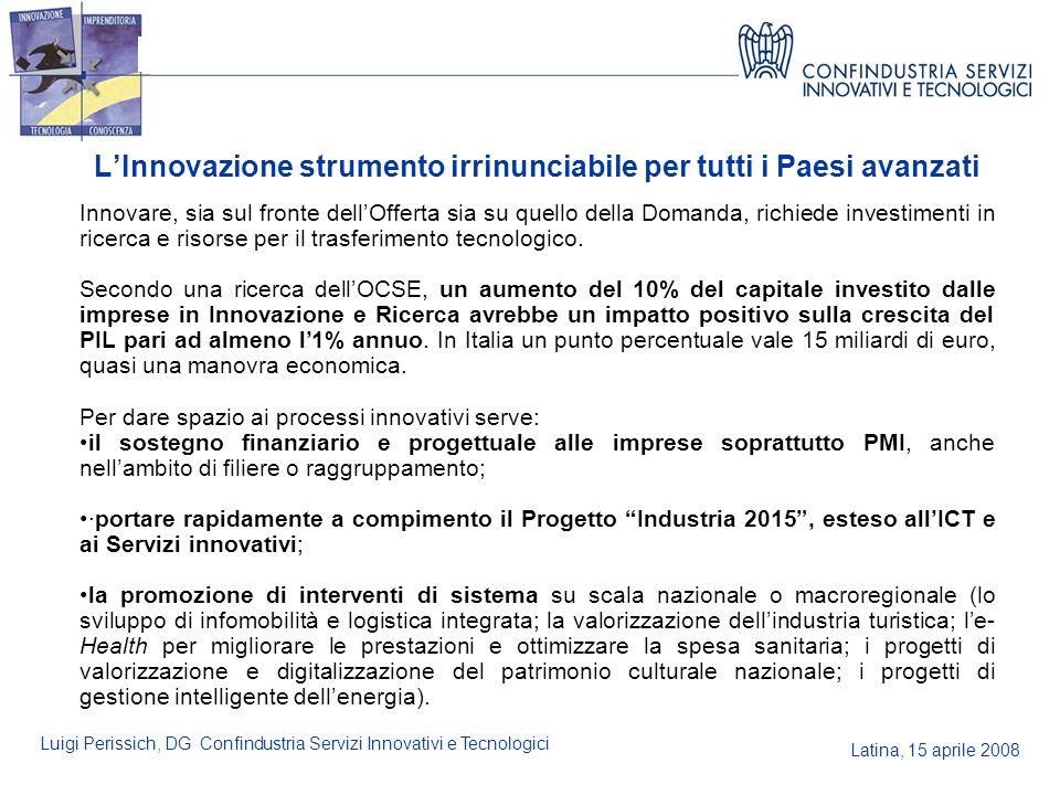 Latina, 15 aprile 2008 Luigi Perissich, DG Confindustria Servizi Innovativi e Tecnologici LInnovazione strumento irrinunciabile per tutti i Paesi avan