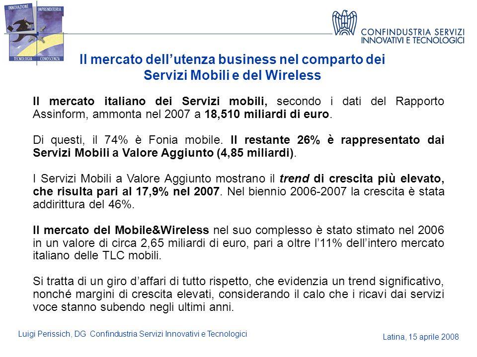 Latina, 15 aprile 2008 Luigi Perissich, DG Confindustria Servizi Innovativi e Tecnologici Il mercato dellutenza business nel comparto dei Servizi Mobi