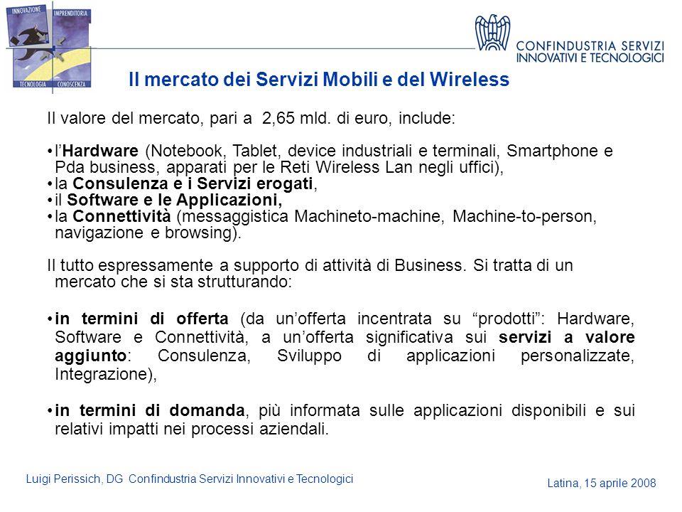 Latina, 15 aprile 2008 Luigi Perissich, DG Confindustria Servizi Innovativi e Tecnologici Il mercato dei Servizi Mobili e del Wireless Il valore del m