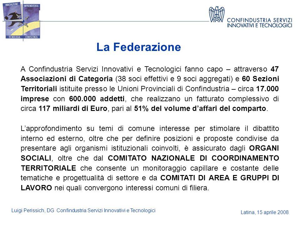 Latina, 15 aprile 2008 Luigi Perissich, DG Confindustria Servizi Innovativi e Tecnologici La Federazione A Confindustria Servizi Innovativi e Tecnolog