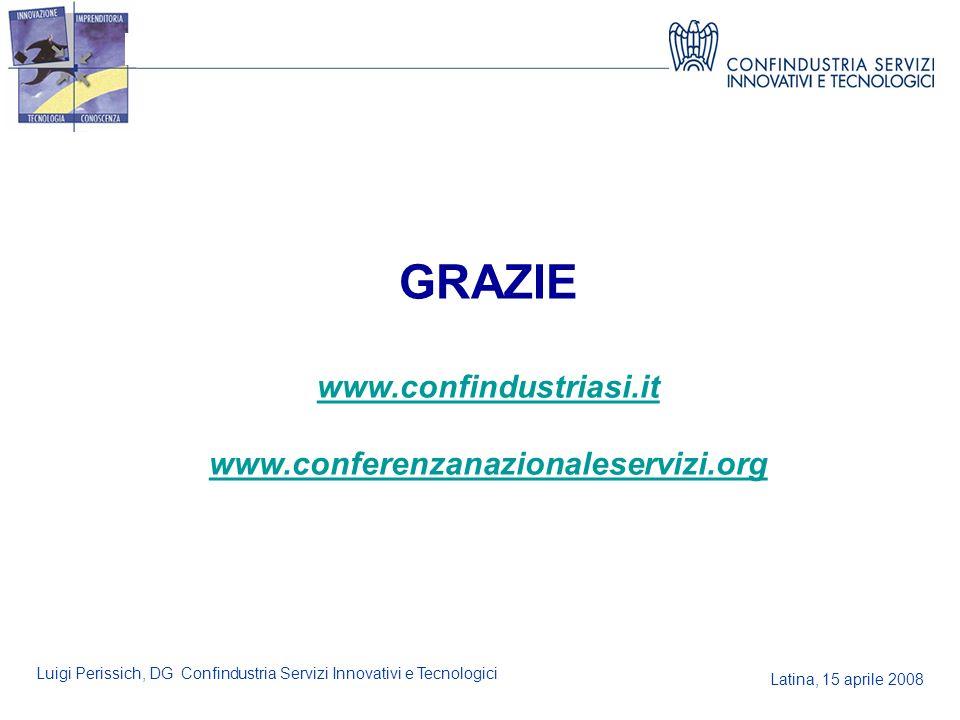 Latina, 15 aprile 2008 Luigi Perissich, DG Confindustria Servizi Innovativi e Tecnologici GRAZIE www.confindustriasi.it www.conferenzanazionaleservizi