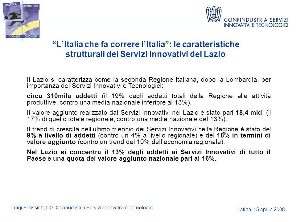 Latina, 15 aprile 2008 Luigi Perissich, DG Confindustria Servizi Innovativi e Tecnologici LItalia che fa correre lItalia: le caratteristiche struttura