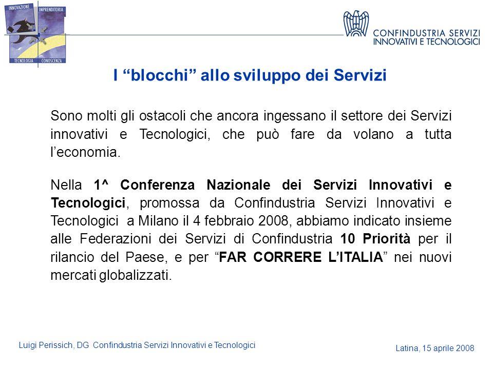 Latina, 15 aprile 2008 Luigi Perissich, DG Confindustria Servizi Innovativi e Tecnologici I blocchi allo sviluppo dei Servizi Sono molti gli ostacoli