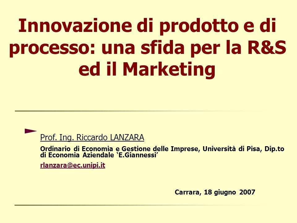 Innovazione di prodotto e di processo: una sfida per la R&S ed il Marketing Prof.