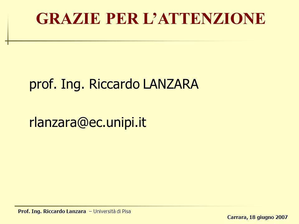 Prof. Ing. Riccardo Lanzara – Università di Pisa Carrara, 18 giugno 2007 prof.