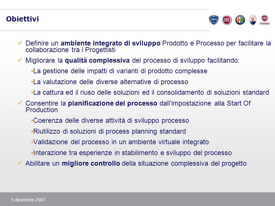 5 dicembre 2007 Obiettivi Definire un ambiente integrato di sviluppo Prodotto e Processo per facilitare la collaborazione tra i Progettisti Migliorare
