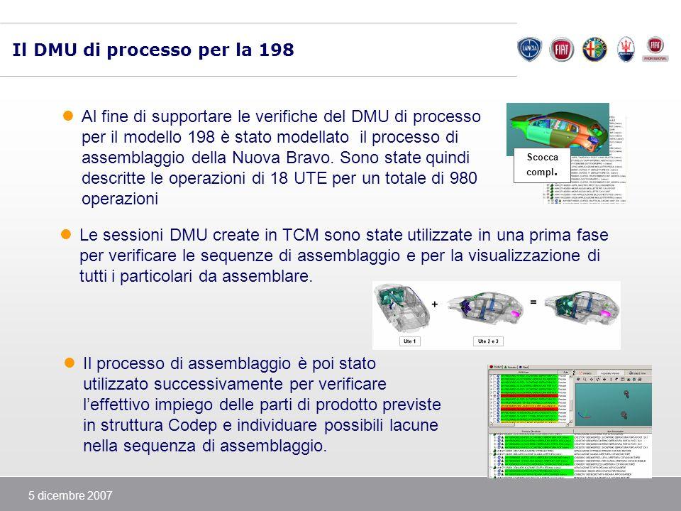5 dicembre 2007 Il DMU di processo per la 198 Al fine di supportare le verifiche del DMU di processo per il modello 198 è stato modellato il processo