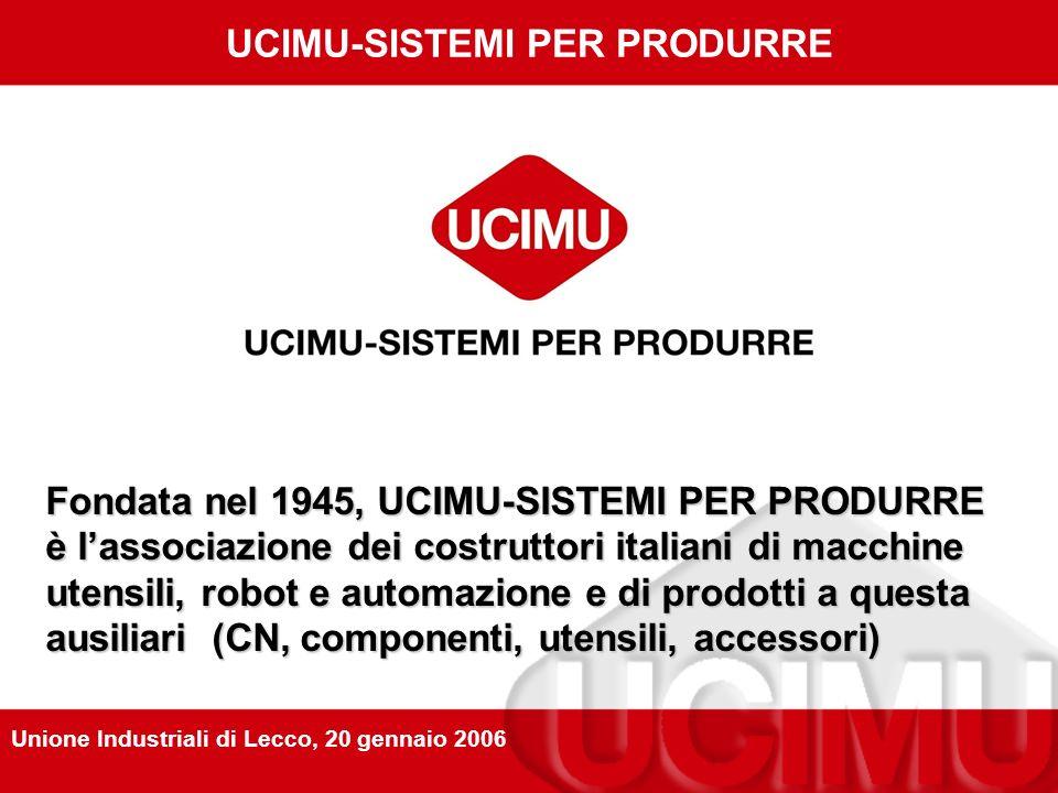 UCIMU-SISTEMI PER PRODURRE Fondata nel 1945, UCIMU-SISTEMI PER PRODURRE è lassociazione dei costruttori italiani di macchine utensili, robot e automazione e di prodotti a questa ausiliari (CN, componenti, utensili, accessori) Unione Industriali di Lecco, 20 gennaio 2006
