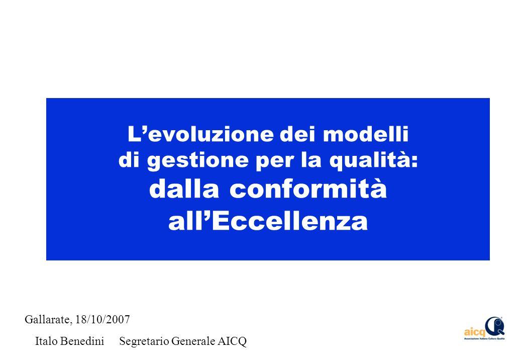 Levoluzione dei modelli di gestione per la qualità: dalla conformità allEccellenza Gallarate, 18/10/2007 Italo Benedini Segretario Generale AICQ
