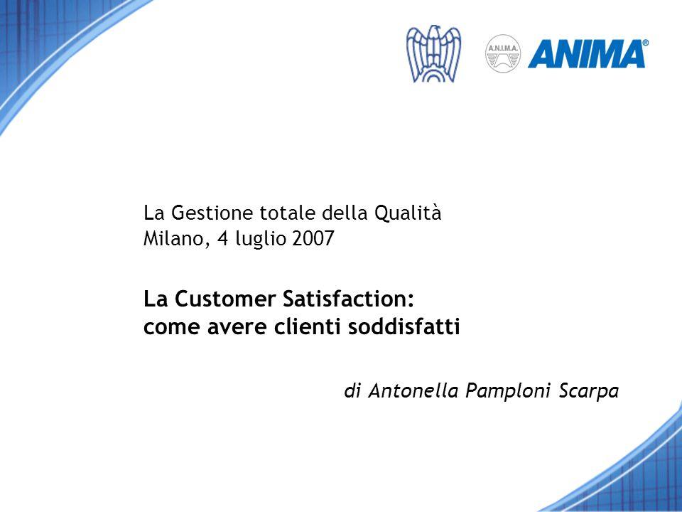 La Gestione totale della Qualità Milano, 4 luglio 2007 La Customer Satisfaction: come avere clienti soddisfatti di Antonella Pamploni Scarpa