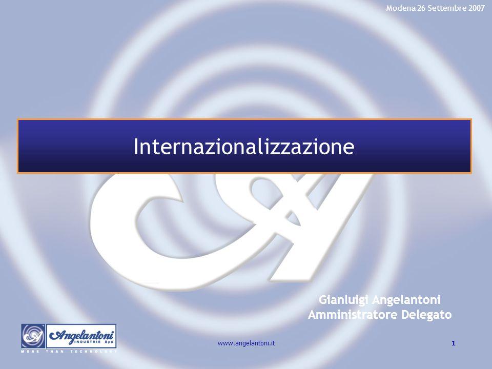 1www.angelantoni.it Gianluigi Angelantoni Amministratore Delegato Modena 26 Settembre 2007 Internazionalizzazione