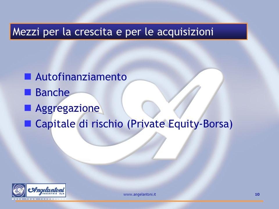 10www.angelantoni.it Autofinanziamento Banche Aggregazione Capitale di rischio (Private Equity-Borsa) Mezzi per la crescita e per le acquisizioni