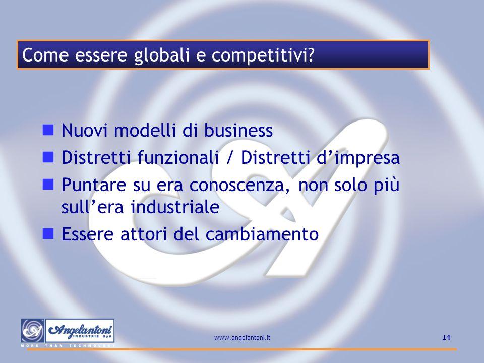 14www.angelantoni.it Nuovi modelli di business Distretti funzionali / Distretti dimpresa Puntare su era conoscenza, non solo più sullera industriale E