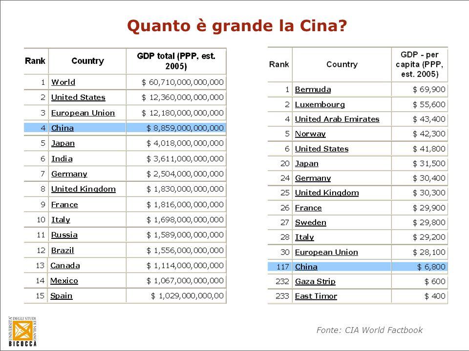 Quanto è grande la Cina? Fonte: CIA World Factbook