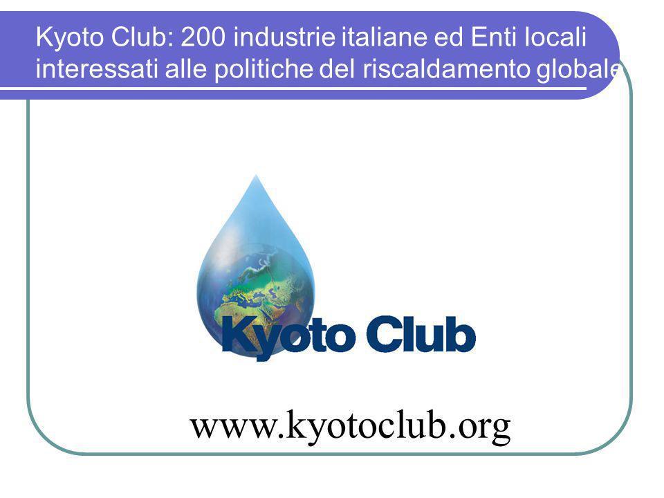 Kyoto Club: 200 industrie italiane ed Enti locali interessati alle politiche del riscaldamento globale www.kyotoclub.org