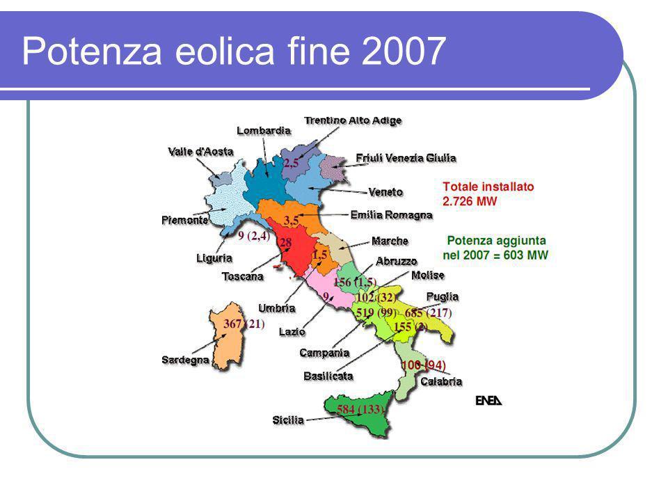 Potenza eolica fine 2007