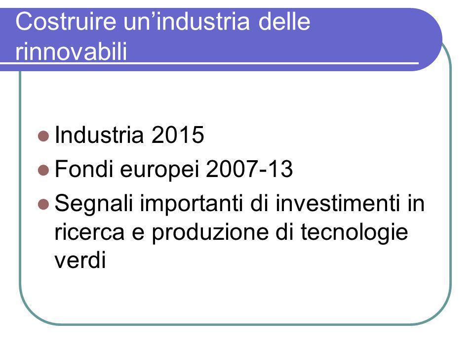 Costruire unindustria delle rinnovabili Industria 2015 Fondi europei 2007-13 Segnali importanti di investimenti in ricerca e produzione di tecnologie verdi
