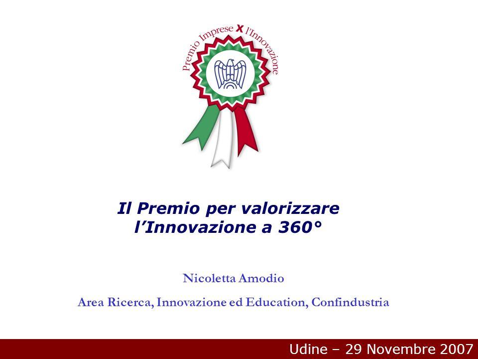Udine – 29 Novembre 2007 Il Premio per valorizzare lInnovazione a 360° Nicoletta Amodio Area Ricerca, Innovazione ed Education, Confindustria