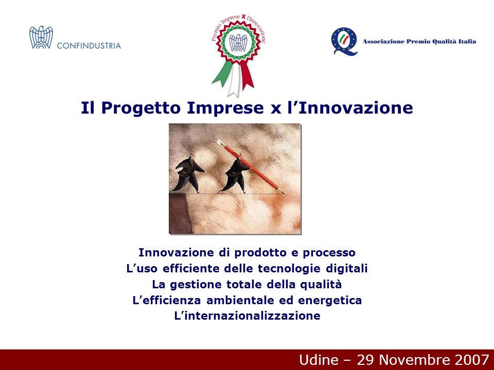 Udine – 29 Novembre 2007 Il Progetto Imprese x lInnovazione Innovazione di prodotto e processo Luso efficiente delle tecnologie digitali La gestione totale della qualità Lefficienza ambientale ed energetica Linternazionalizzazione