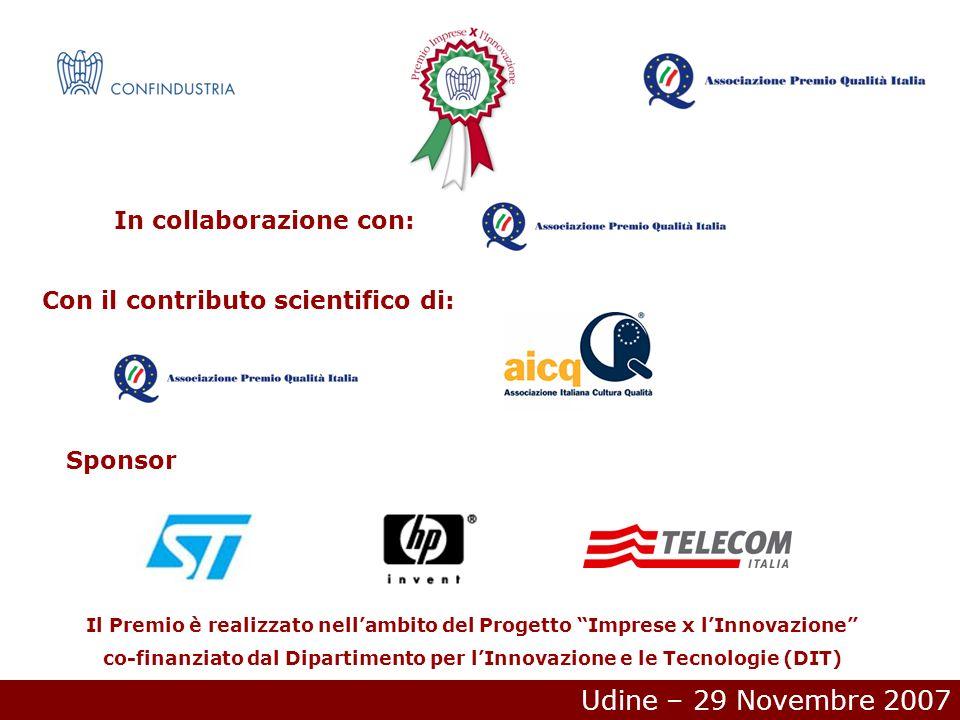 Udine – 29 Novembre 2007 In collaborazione con: Con il contributo scientifico di: Sponsor Il Premio è realizzato nellambito del Progetto Imprese x lInnovazione co-finanziato dal Dipartimento per lInnovazione e le Tecnologie (DIT)