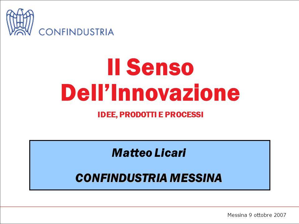Messina 9 ottobre 2007 Il Senso DellInnovazione IDEE, PRODOTTI E PROCESSI Matteo Licari CONFINDUSTRIA MESSINA
