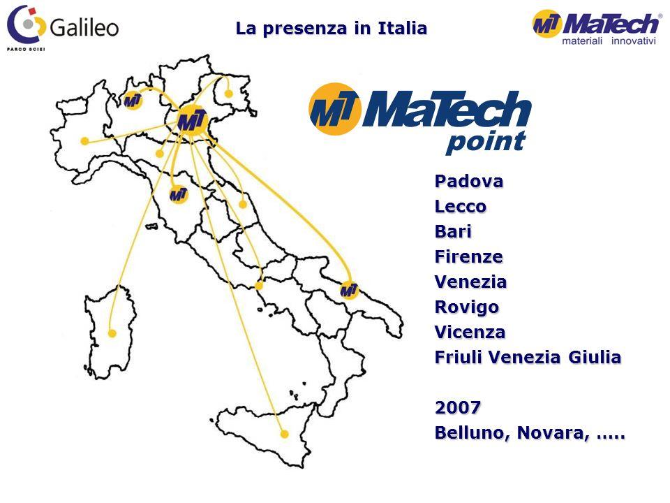 La presenza in Italia PadovaLeccoBariFirenzeVeneziaRovigoVicenza Friuli Venezia Giulia 2007 Belluno, Novara, …..