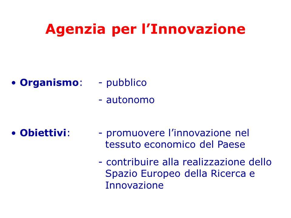 Agenzia per lInnovazione Organismo: - pubblico - autonomo Obiettivi: - promuovere linnovazione nel tessuto economico del Paese - contribuire alla real