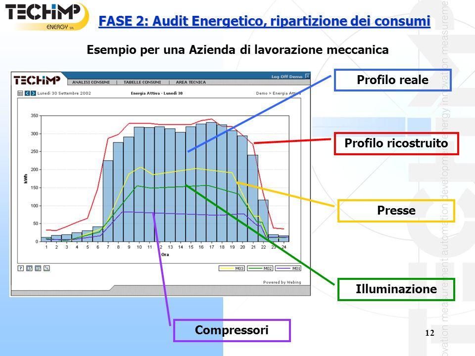 12 FASE 2: Audit Energetico, ripartizione dei consumi Profilo reale Profilo ricostruito Presse Illuminazione Compressori Esempio per una Azienda di lavorazione meccanica