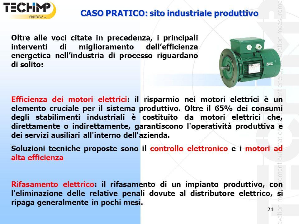 21 CASO PRATICO: sito industriale produttivo Efficienza dei motori elettrici: il risparmio nei motori elettrici è un elemento cruciale per il sistema produttivo.