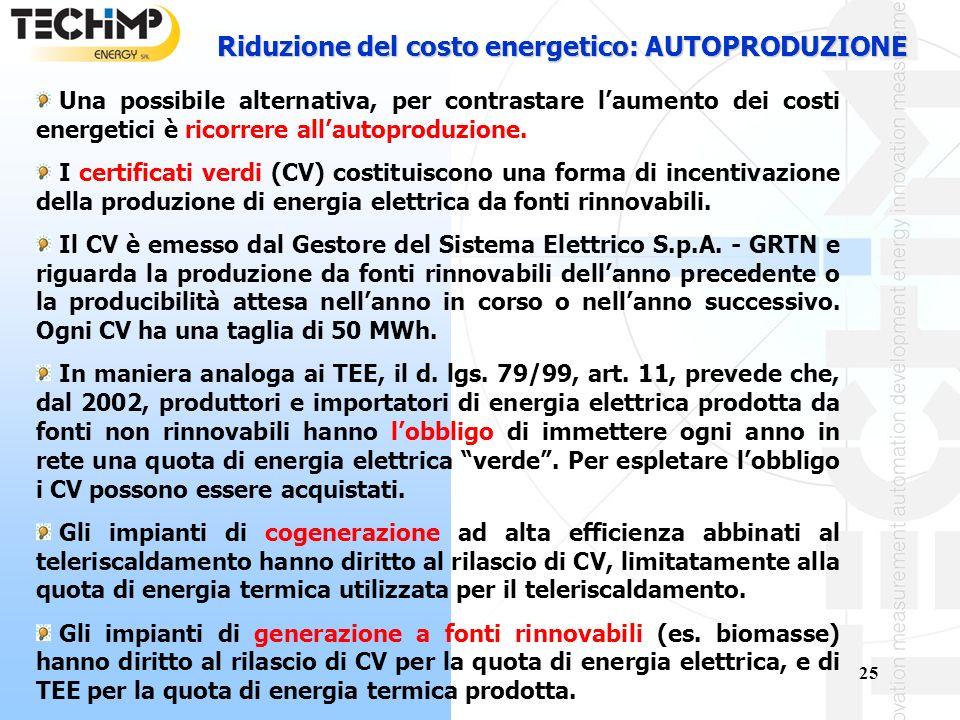 25 Riduzione del costo energetico: AUTOPRODUZIONE Una possibile alternativa, per contrastare laumento dei costi energetici è ricorrere allautoproduzione.