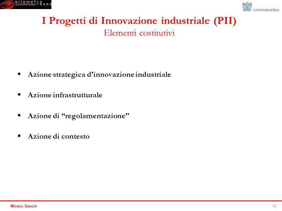 10 Mirano Sancin I Progetti di Innovazione industriale (PII) Elementi costitutivi Azione strategica dinnovazione industriale Azione infrastrutturale A