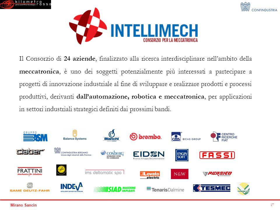 17 Mirano Sancin Il Consorzio di 24 aziende, finalizzato alla ricerca interdisciplinare nellambito della meccatronica, è uno dei soggetti potenzialmen