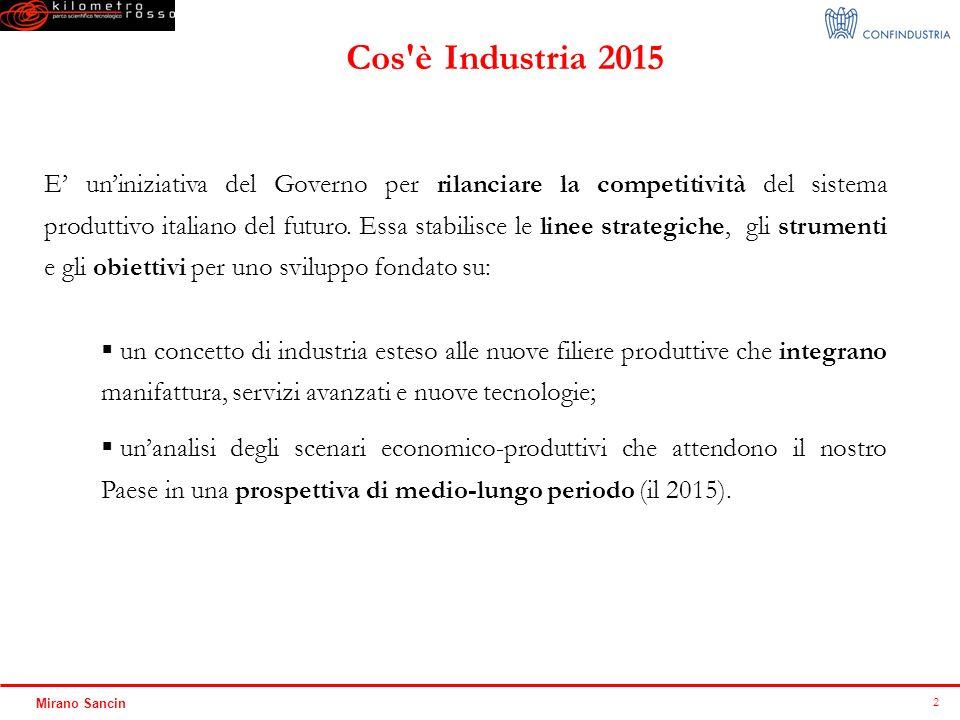 2 Mirano Sancin E uniniziativa del Governo per rilanciare la competitività del sistema produttivo italiano del futuro. Essa stabilisce le linee strate