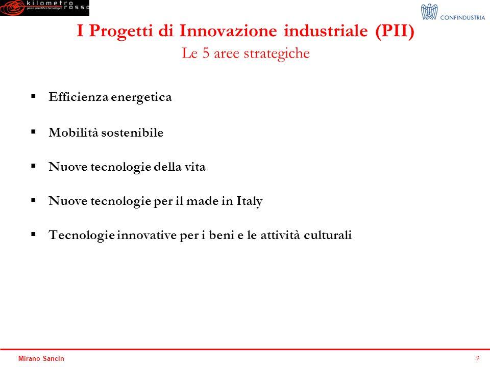 9 Mirano Sancin I Progetti di Innovazione industriale (PII) Le 5 aree strategiche Efficienza energetica Mobilità sostenibile Nuove tecnologie della vi
