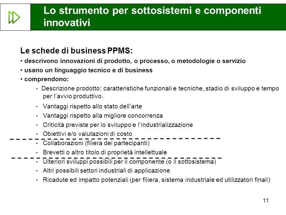 11 Le schede di business PPMS: descrivono innovazioni di prodotto, o processo, o metodologie o servizio usano un linguaggio tecnico e di business comp