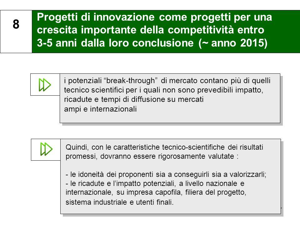 17 Progetti di innovazione come progetti per una crescita importante della competitività entro 3-5 anni dalla loro conclusione (~ anno 2015) 8 i poten