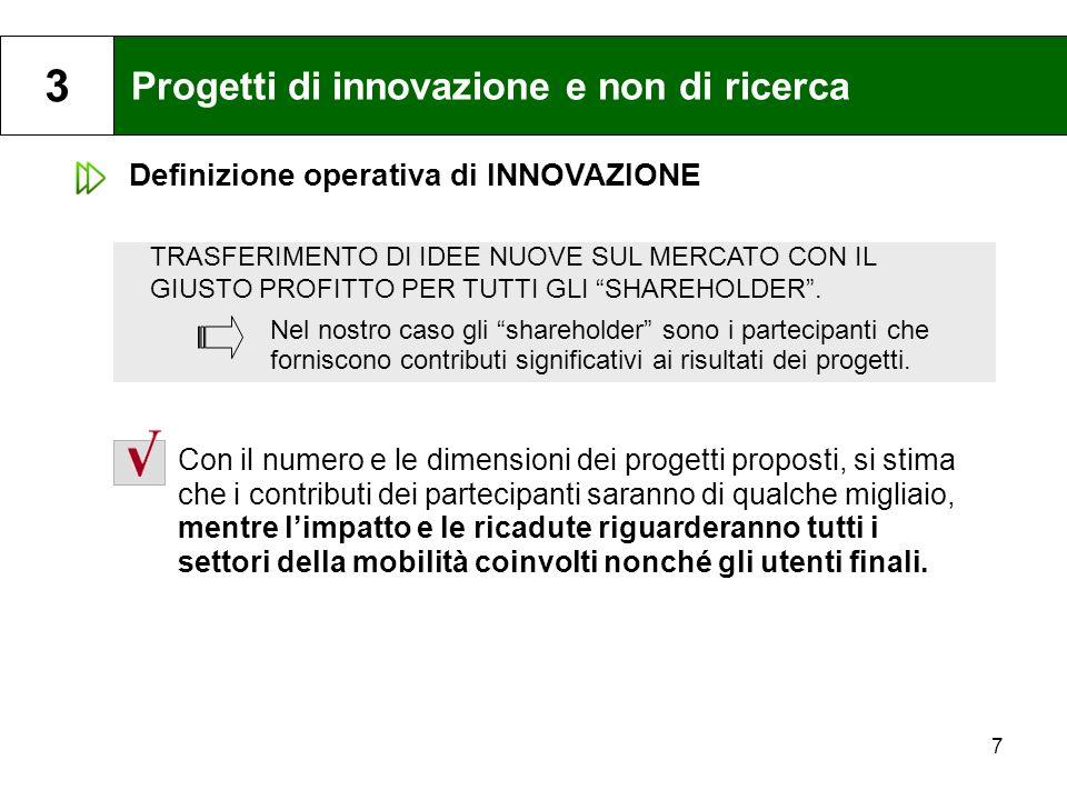 7 Progetti di innovazione e non di ricerca 3 Con il numero e le dimensioni dei progetti proposti, si stima che i contributi dei partecipanti saranno d